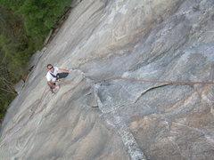 Rock Climbing Photo: Wyatt following the first pitch.