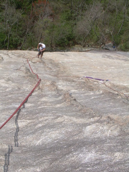 Rock Climbing Photo: Looking down the 3rd pitch groove. Be careful not ...