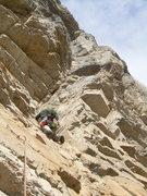 Rock Climbing Photo: Starting up the crux pitch