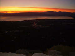Rock Climbing Photo: Used up all the daylight! Provo and Lake Utah at s...