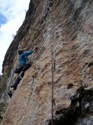 Rock Climbing Photo: At the second clip about to move into the route's ...