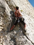 Rock Climbing Photo: Steep start of Fessura Oliva's first pitch