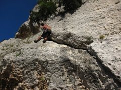 Rock Climbing Photo: Climbing up to the first pitch belay station on Fe...