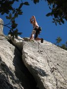 Rock Climbing Photo: Escape from the wide crack on Fessura Oliva