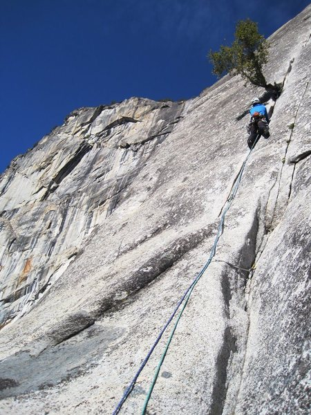 James on the crux pitch. Sons of Yesterday. 1/2012.<br> <br> Photo: Corey Gargano