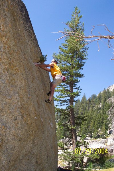 Jeff Laina bouldering in Tuolumne Meadows. 2004.
