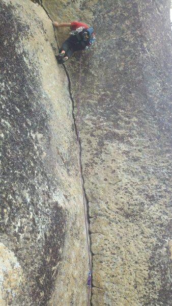 Rock Climbing Photo: Clay on crescent crack