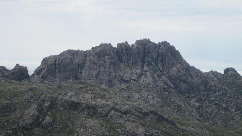 A view of the north face of Agulhas Negras from the abrigo.  There are various moderate climbs and hikes to reach the four distinct summits as well as a traverse of the whole formation.