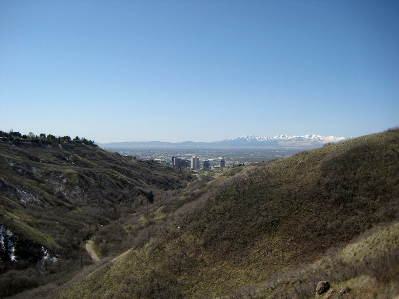 Looking over to the capitol building and downtown Salt Lake from the top of the wall.