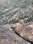 Rock Climbing Photo: Finishing up the last 30' of the second pitch. Eas...