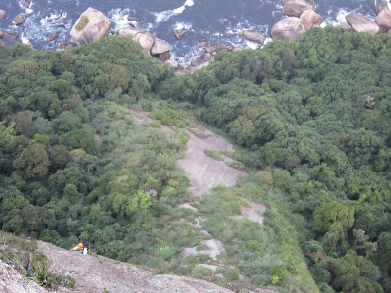 Rock Climbing Photo: Mingo on pitch five, above the Atlantic.