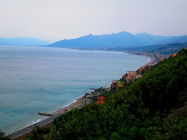 Looking past Borgio Verezzi towards Pietra Ligure from Caprazoppa