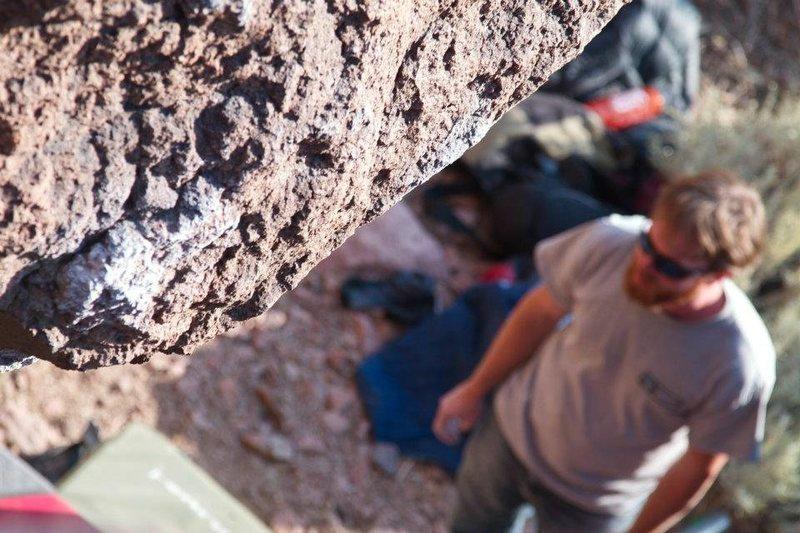 Rock Climbing Photo: Andrew Shurr under Karma.