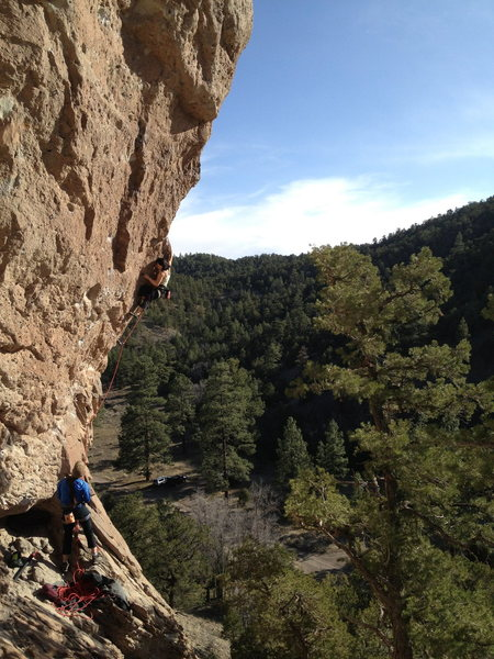 Rock Climbing Photo: Linda making the long pull up and around the arete