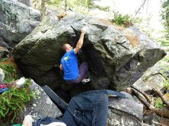 Rock Climbing Photo: Cool holds and moves heading up.  Great find, Tony...
