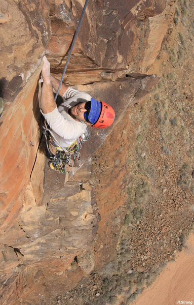 At the small ledge - the top of the 4th pitch headwall<br> Heat Seeker (5.11-)