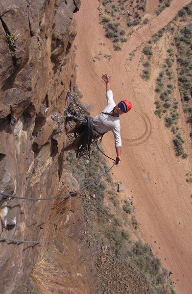 Mike Phalan enjoys the Final Belay during the FA<br> Heat Seeker (5.11-)