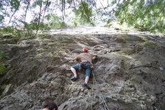 Rock Climbing Photo: Clipping first bolt