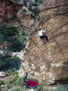 Rock Climbing Photo: One of the best highballs anywhere.  V2 crux at th...