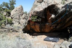 Rock Climbing Photo: Left Branch in red and A Bit of Eden in blue.