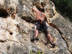 Rock Climbing Photo: Gettin' to the meat of Bambino