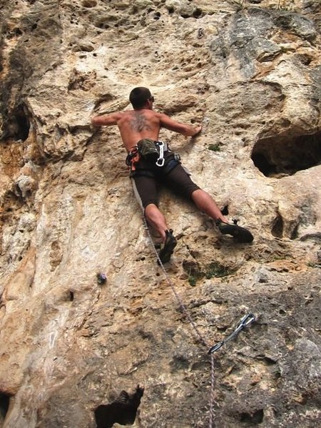 Rock Climbing Photo: John stepping up to the steep bit on Senza Nome