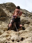 Rock Climbing Photo: Clippng the anchor at the top of Senza Nome.