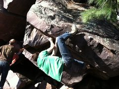 Rock Climbing Photo: John K moving through the end moves.