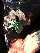 Rock Climbing Photo: John K. on the start holds of Long Arm John.