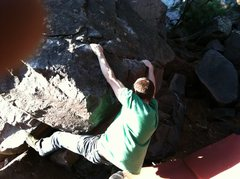 Rock Climbing Photo: Middle of problem. (that's Paul's finger ;)