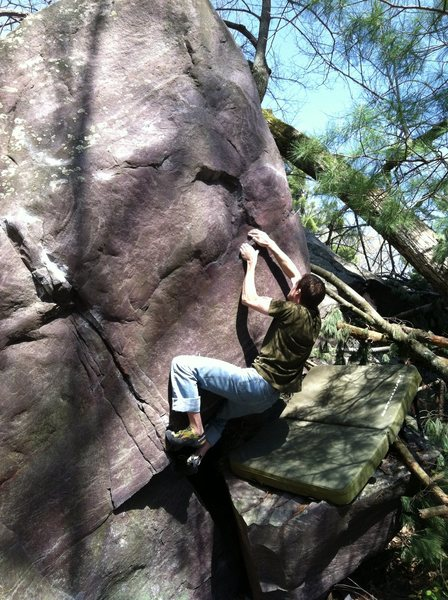 Rock Climbing Photo: Matching the jug.