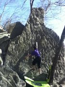 Rock Climbing Photo: Colin on Boulder of The Gods (V0)