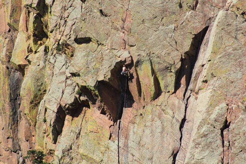 Stemming through the crux.<br> <br> If this was you today, I've got a sequence of the whole route for you....