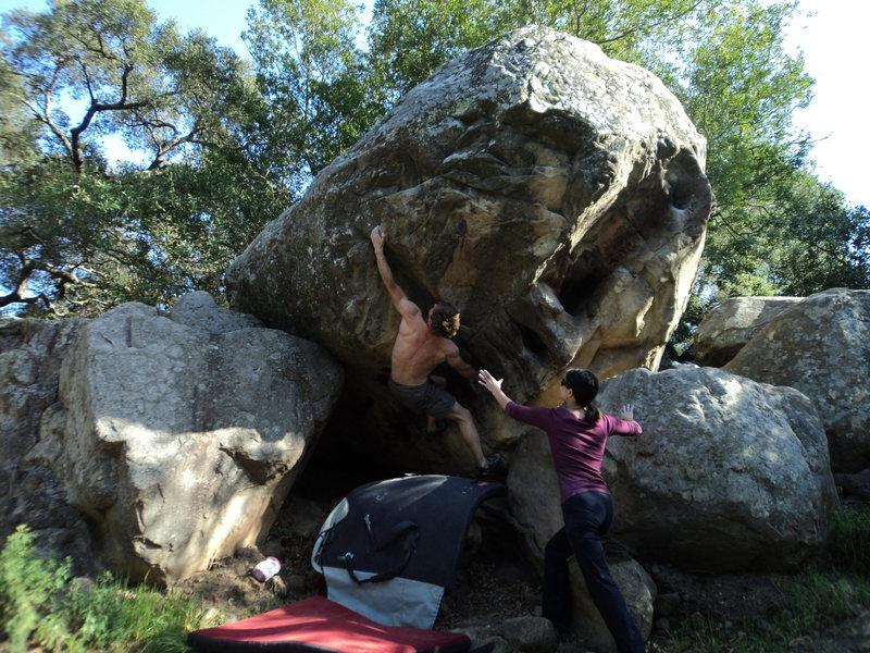 Rock Climbing Photo: The big span.