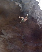 Rock Climbing Photo: Pulling the roof.  Picture from the water.