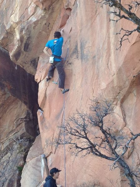 Al just finishing up the crux on Gone Beyonder.