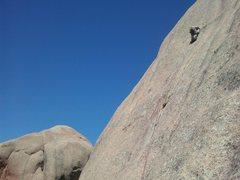 Rock Climbing Photo: Brian about 10 feet below the crux.