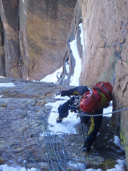 The upper ramp on The Eighth Route on 4-8-12. Fun climbing.