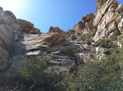 Rock Climbing Photo: exit wash up these slabs, up hill and around right...