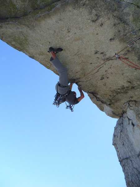 Rock Climbing Photo: JAG pulling the exciting 3rd pitch roof.
