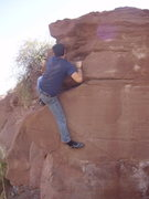 Rock Climbing Photo: Dave H. inching his way over the lip for the send....