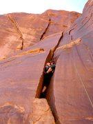 "Rock Climbing Photo: Gwen in ""Satan's Buttcrack""."