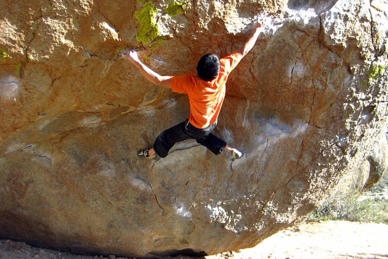 Rock Climbing Photo: Crux move on Go Granny Ho.
