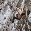 Joel on the first part of La Gripa 11d in the near climbing area near Monterrey Mexico La Cueva Del Oso.