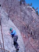 Rock Climbing Photo: Tom Lane on the FA of Keystone.