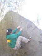 Rock Climbing Photo: Matt on the high starting jug of Lift Off