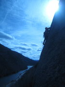 Rock Climbing Photo: Me leading the last pitch on a cold and windy Apri...