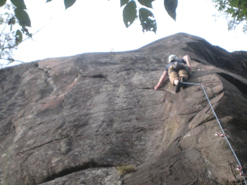 Rock Climbing Photo: Ethan leading up Lonesome Dove
