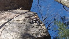 Rock Climbing Photo: Me leading up Overlord