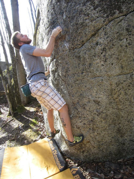 Rock Climbing Photo: Brandon on the stand start of Slabadon